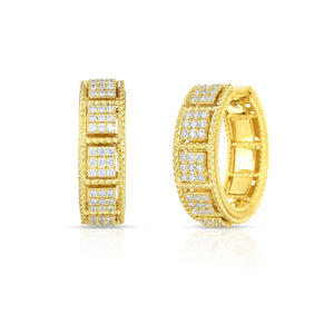 Roberto Coin Roman Barocco 18K Yellow Gold Diamond Hoop Earrings