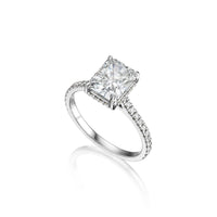 Fink's Exclusive Platinum Radiant Cut Diamond Shank and Gallery Engagement Ring