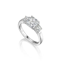 Fink's Exclusive Platinum Radiant Cut Diamond Three Stone Engagement Ring