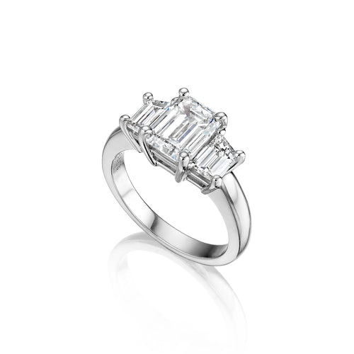 Fink's Exclusive Platinum Emerald Cut Diamond Engagement Ring with Trapezoid Side Diamonds