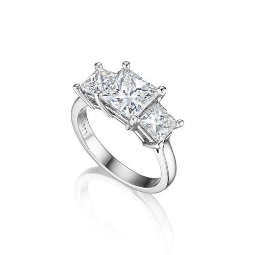 Fink's Exclusive Platinum Princess Cut Diamond Three Stone Engagement Ring