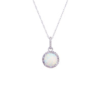 Sabel Collection Birthstone and Diamond Halo Pendant