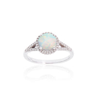 Sabel Collection Birthstone and Diamond Halo Ring