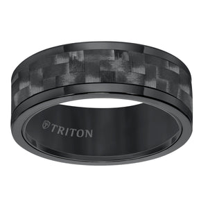 Triton Men's 8mm Black Tungsten and Black Carbon Fiber Comfort Fit Band
