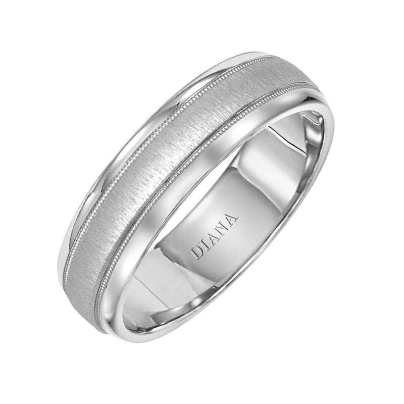 Diana Men's 6mm Satin Finish Milgrain Wedding Band