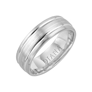 Diana Men's 7mm Two Groove Brushed Finish Wedding Band
