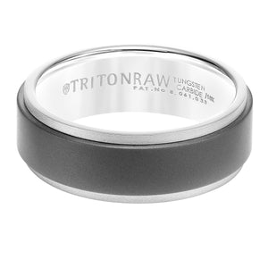 Triton RAW Men's 8mm 18K White Gold and Grey PVD Tungsten Step Edge Wedding Band