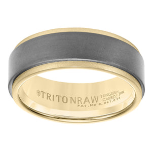 Triton RAW Men's 8mm 18K Yellow Gold and Black PVD Tungsten Step Edge Wedding Band