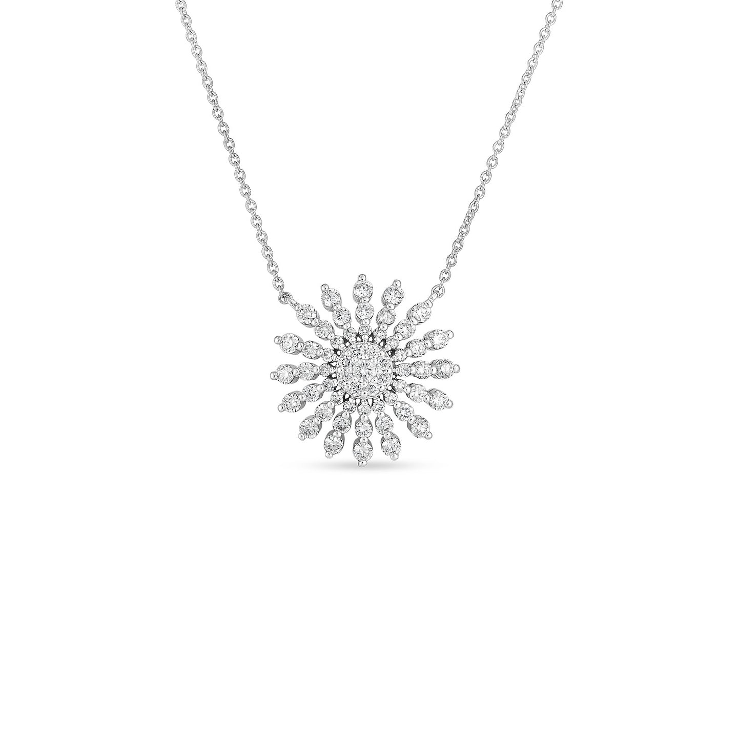 Roberto Coin Tiny Treasures 18K White Gold Diamond Sunburst Necklace