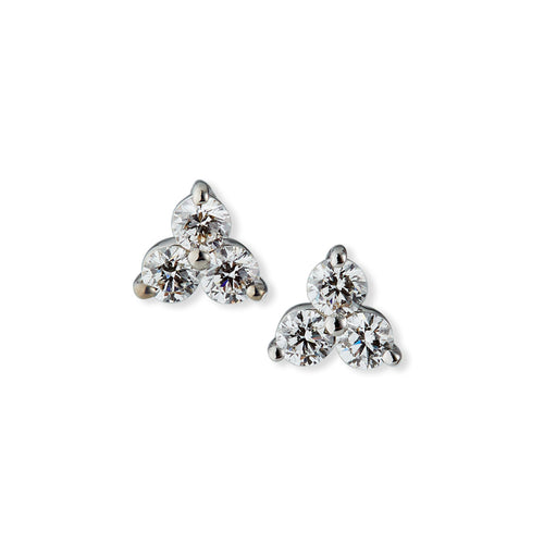 Roberto Coin Classic Diamond 18K White Gold Trinity Three Diamond Cluster Stud Earrings
