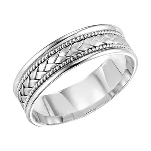 Fink's Men's 7mm 14K White Gold Woven Wedding Band
