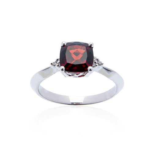 Sabel Collection 14K White Gold Cushion Garnet and Round Diamond Ring