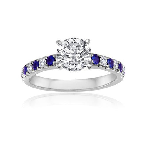 Fink's Exclusive 14K White Gold Round Diamond and Sapphire Engagement Ring