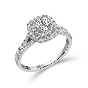 Fink's Exclusive 14K White Gold Cushion and Round Diamond Double Halo Engagement Ring