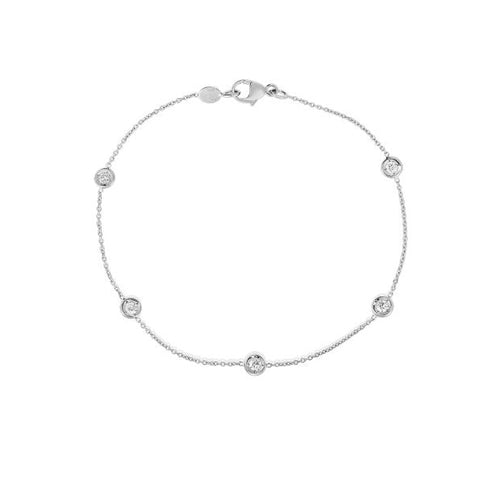 Roberto Coin Diamonds by the Inch 18K White Gold 5 Station Bracelet