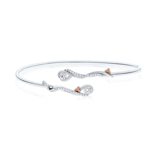 Devotion Two Stone 18K White and Rose Gold Diamond Bangle