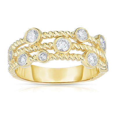 Sabel Collection 14K Yellow Gold Bezel Set Diamond Three Row Ring