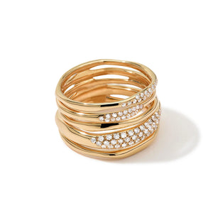 IPPOLITA Stardust 18K Yellow Gold 5-Wire Squiggle Ring with Diamonds