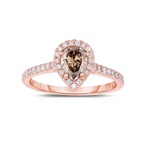 Sabel Collection 14K Pink Gold Pear Shape Mocha and White Diamond Ring