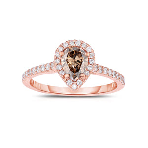 Sabel Collection 14K Rose Gold Pear Shape Mocha and White Diamond Ring
