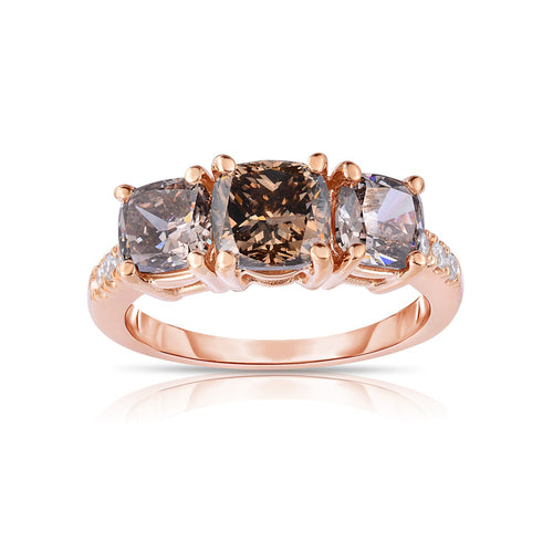 Sabel Collection 14K Pink Gold Cushion Cut Mocha and Fancy Color Diamond Ring