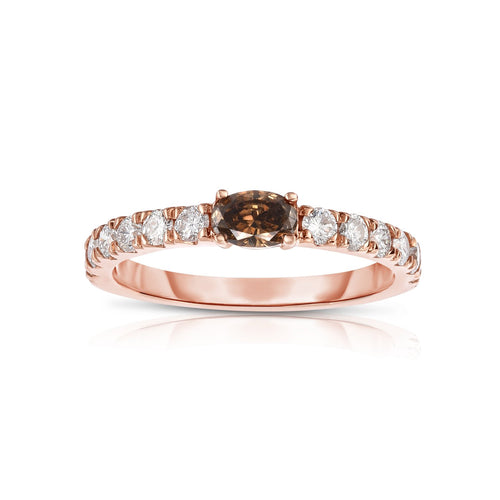 Sabel Collection 14K Pink Gold Oval Mocha and White Diamond Ring