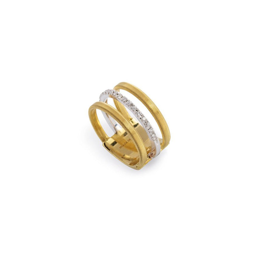Marco Bicego Masai 18K Yellow Gold and 18K White Gold Diamond Three Strand Ring