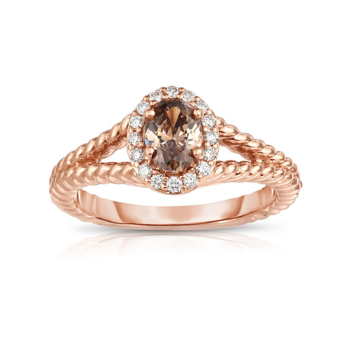 Sabel Collection 14K Pink Gold Oval Mocha and White Diamond Twist Shank Ring