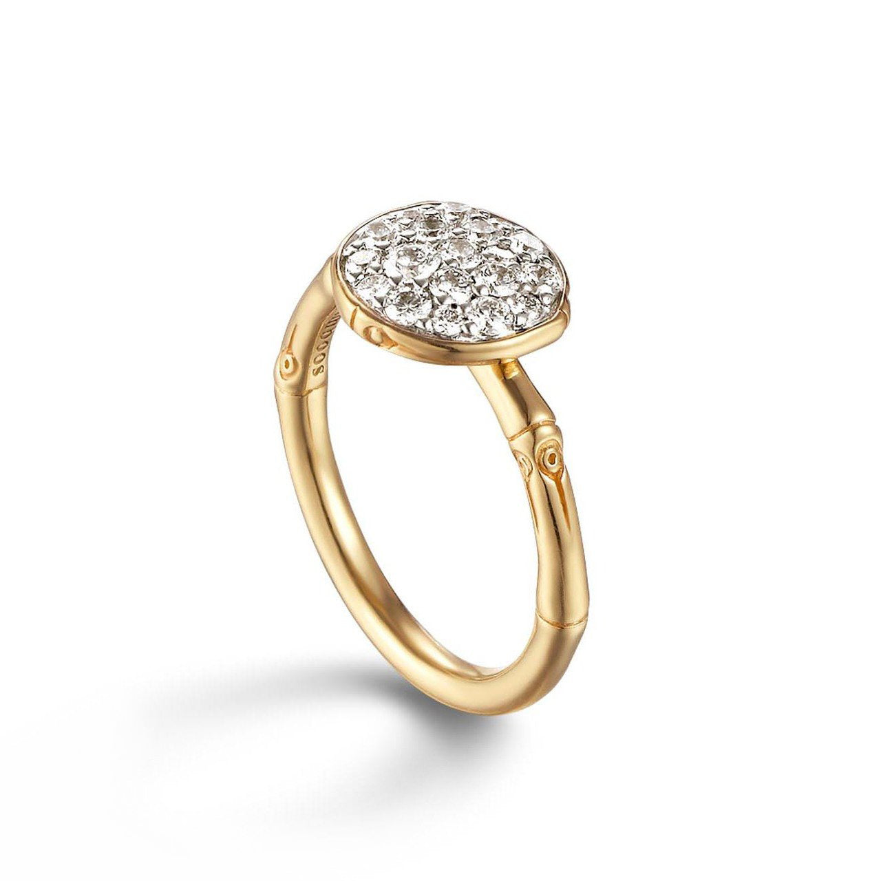 John Hardy Bamboo Gold Diamond Pavé Slim Ring