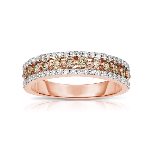 Sabel Collection 14K Pink Mocha and White Diamond Band Ring