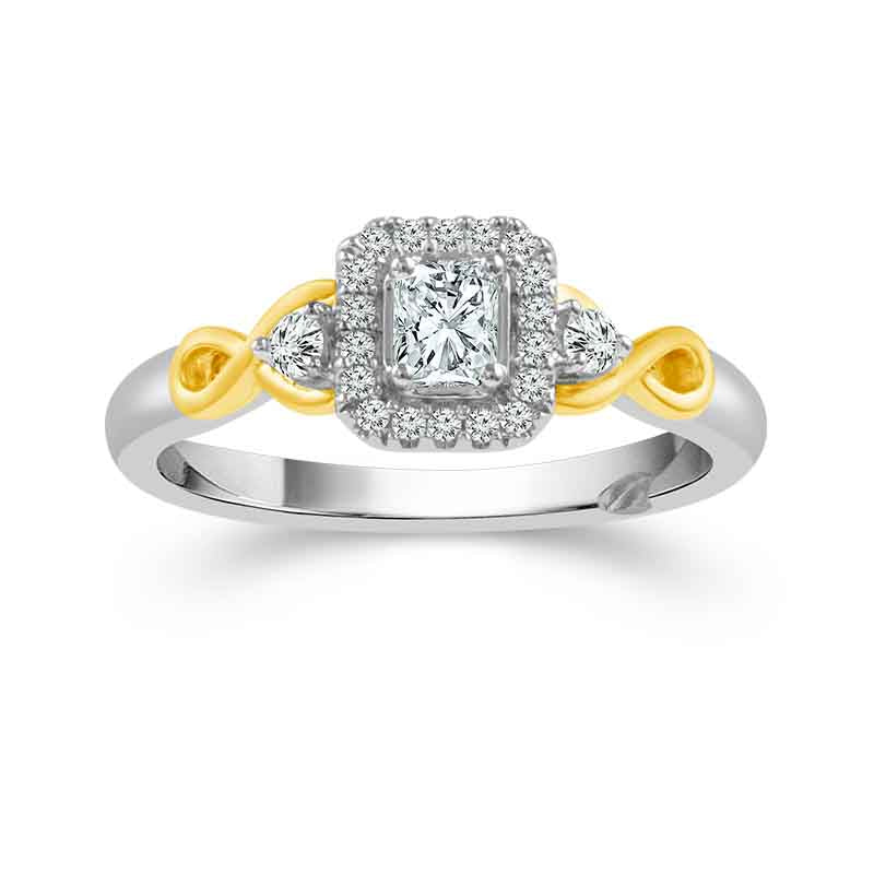 Fink S Exclusive Princess Halo Engagement Ring Set With Infinity Detailing