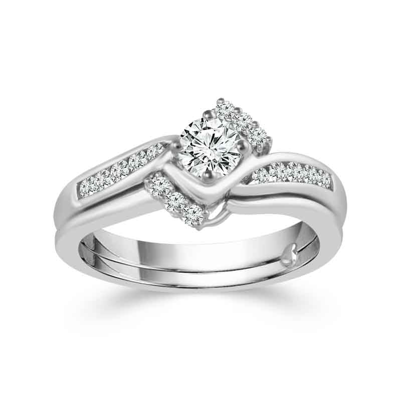 Fink's Exclusive Round Engagement Ring Set with Diamond Jacket