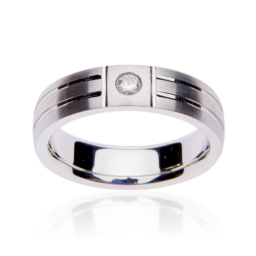 Fink's Men's 14K White Gold Textured Wedding Band