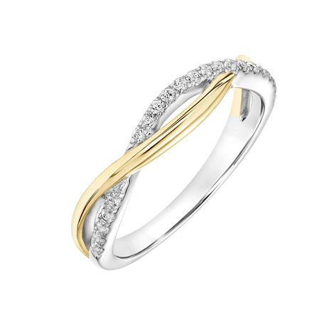 Fink's 14K White and Yellow Gold Diamond Crossover Wedding Band