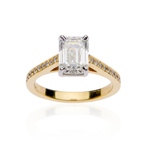 Fink's Exclusive 18K Yellow Gold Emerald Cut Diamond Engagement Ring