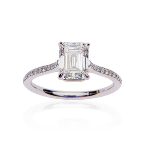 Fink's Exclusive Platinum Emerald Cut Diamond Shank Engagement Ring