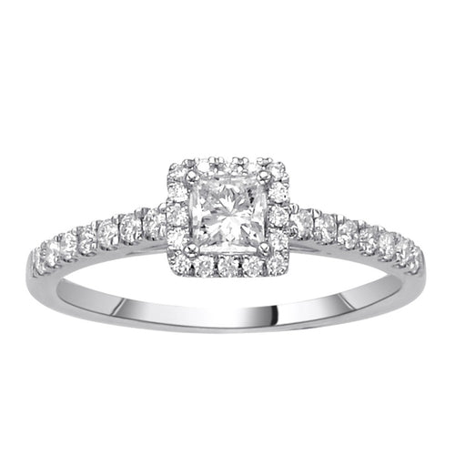 Fink's .33ct Princess Cut Engagement Ring with Halo