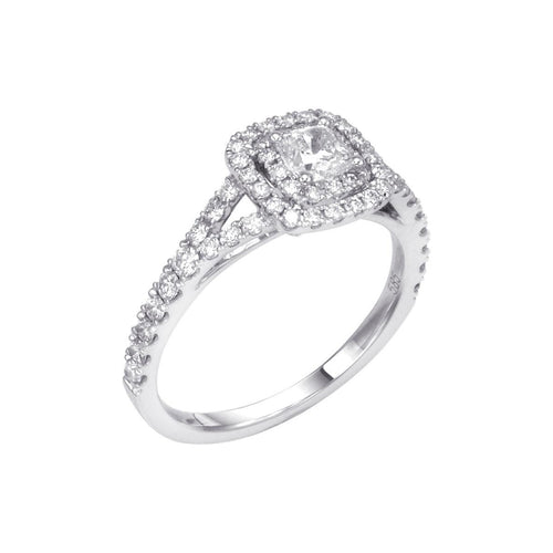 Fink's Exclusive Cushion Cut Engagement Ring with a Double Halo and Split Shank
