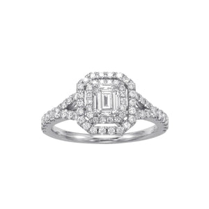 Fink's Exclusive Emerald Cut Engagement Ring with a Double Halo and Split Shank