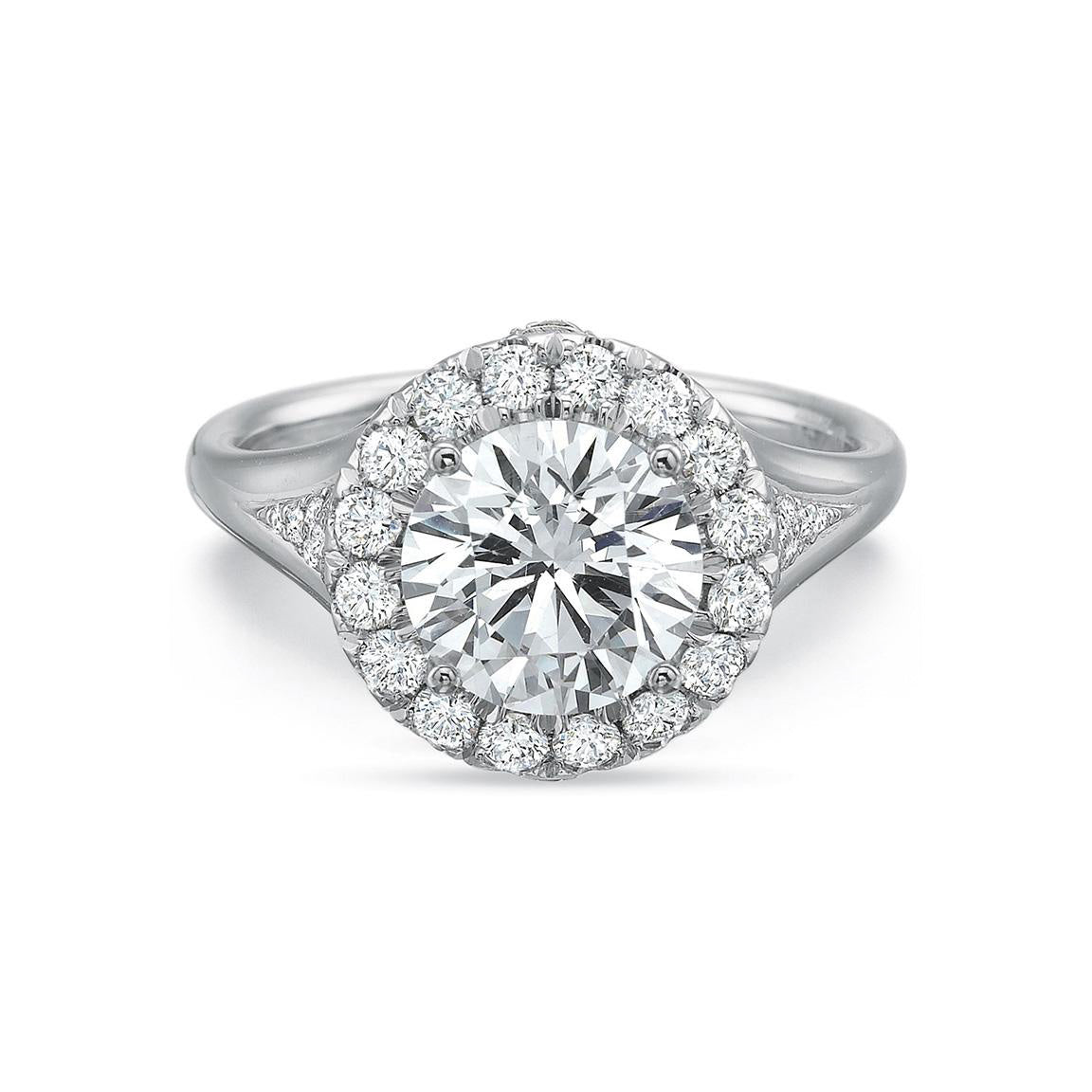 Fink's Exclusive Platinum Round Center Stone Halo Engagement Ring