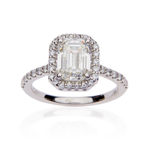 Fink's Exclusive Platinum Emerald Cut Diamond Halo Engagement Ring