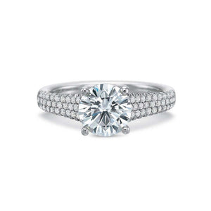 Forevermark 18K White Gold Round Diamond Pavé Shank Engagement Ring