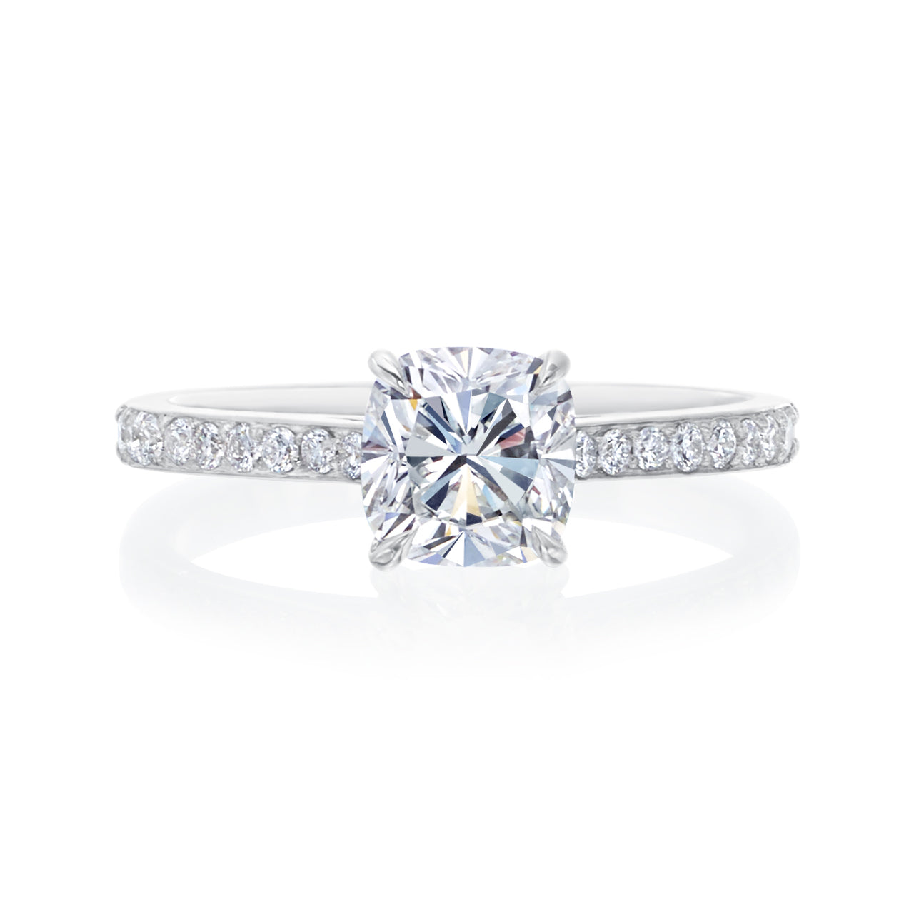 Fink's Exclusive FireCushion Diamond Engagement Ring with Diamond Pavé Shank