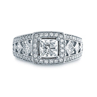 Fink's Exclusive 14K White Gold Princess Cut Diamond Cutout Engagement Ring