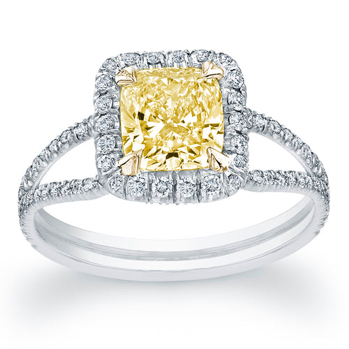 Fink's Exclusive 18K White Gold Fancy Yellow Radiant Cut Center Stone Split Shank Engagement Ring