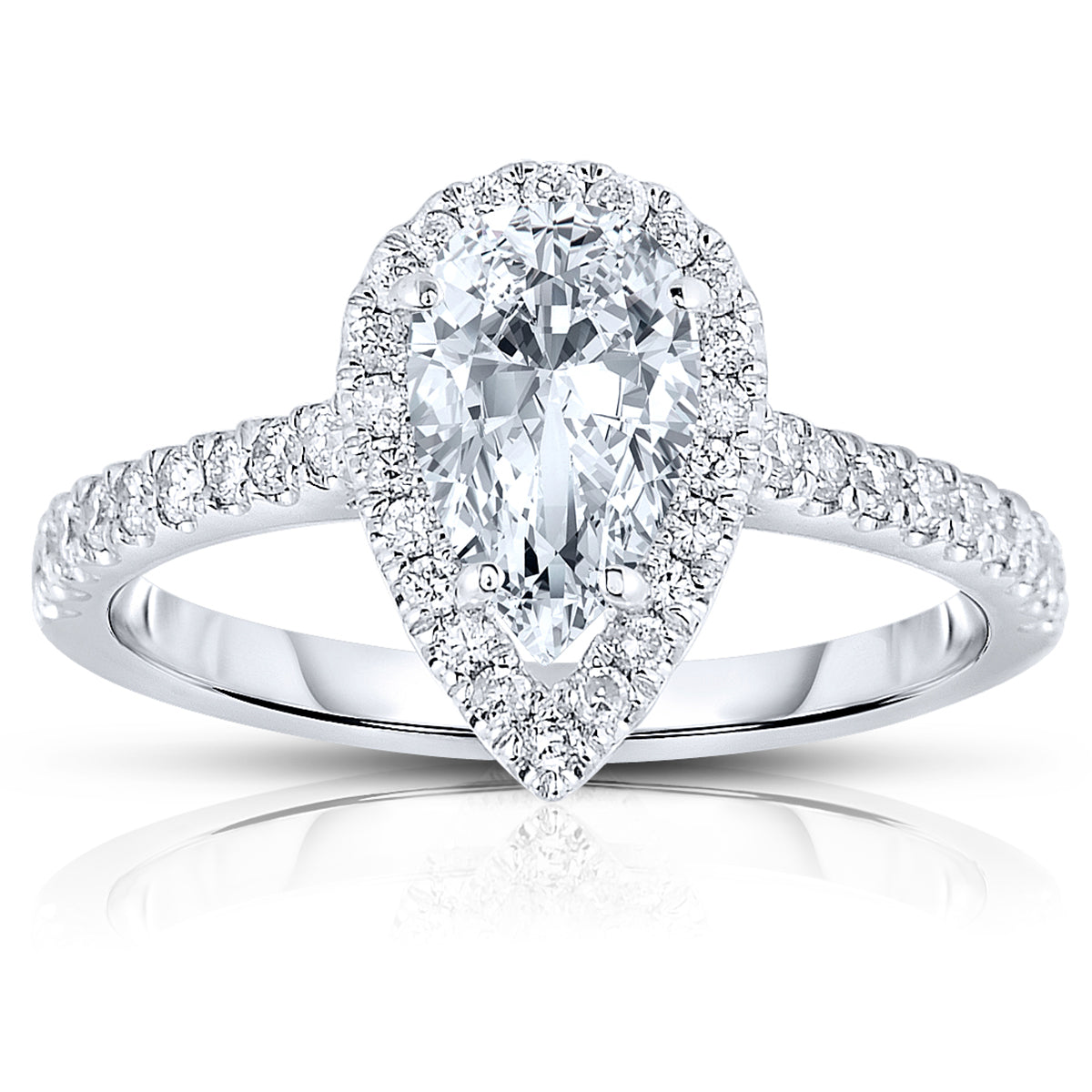 Pear Shape Diamond With Diamond Halo And Shank Engagement Fink S