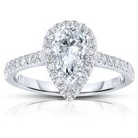 Fink's Exclusive Platinum Pear Shape Diamond Halo Engagement Ring