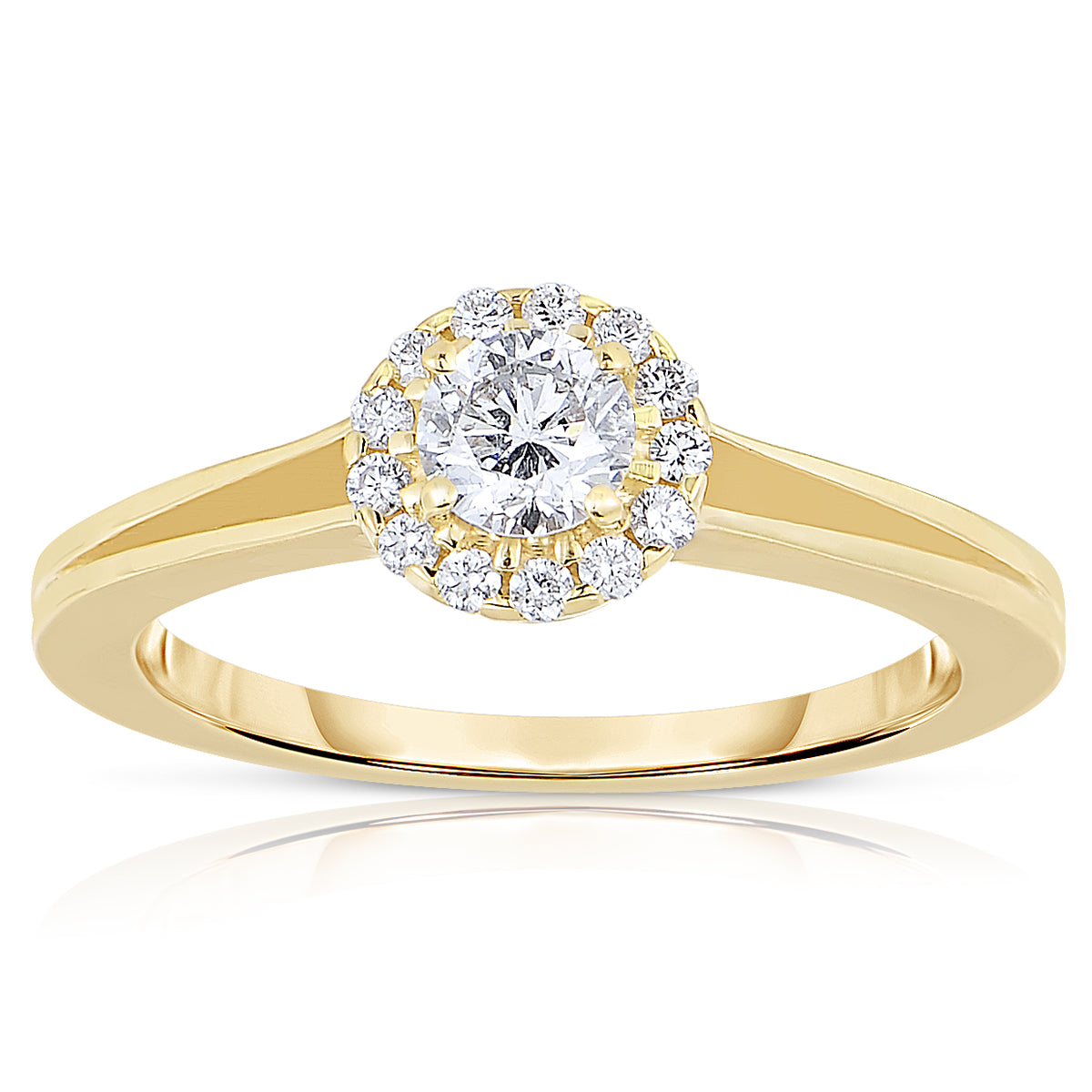 590fe7f562b34 Fink's Exclusive 14K Yellow Gold Round Diamond Halo Split Shank Engagement  Ring
