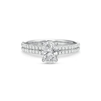 Fink's Exclusive 18K White Gold Oval Center Stone Two Row Shank Engagement