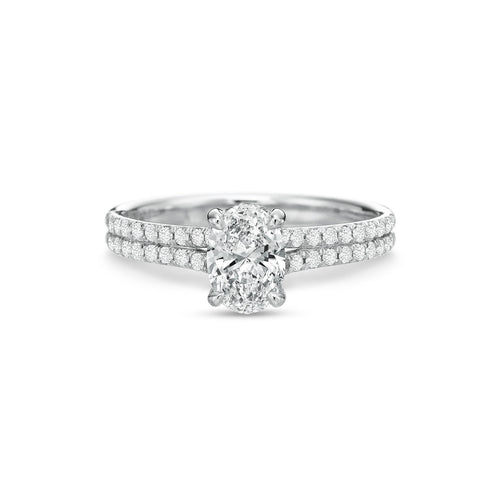 Fink's Exclusive 18K White Gold Oval Center Stone Two Row Shank Engagement Ring